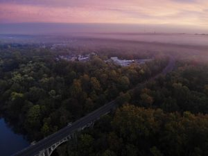 Dawn fog over the Rappahannock and Stafford VA drone shot