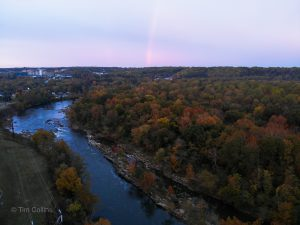 Rappahannock river in Fredericksburg VA with a small rainbow