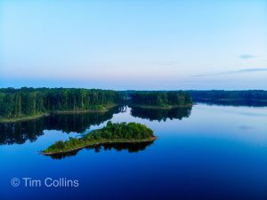 Small Island in a reservoir drone shot