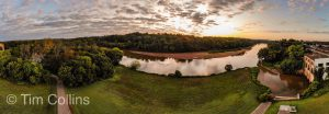 Panorama of the area around the old power plant in Fredericksburg VA