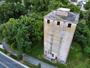 Drone shot of an old warehouse building in Fredericksburg VA