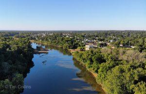 Rappahannock River by drone in Fredericksburg VA