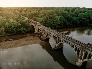 Train over bridge in Fredericksburg VA