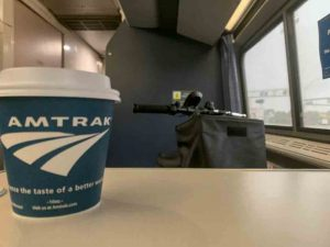 Coffee and a Mobility Scooter on Amtrak